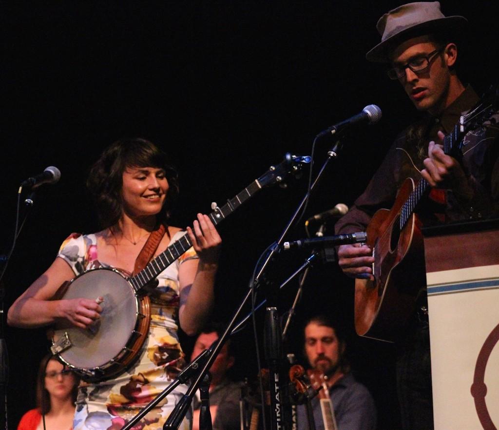 Singer/songwriters Barbara Jean and Jack Klatt perform during the June 13, 2015 Great Northern Radio Show from Grand Marais, Minnesota. (PHOTO: Grant Frashier)