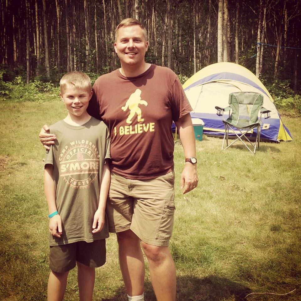 The author and son at camp.