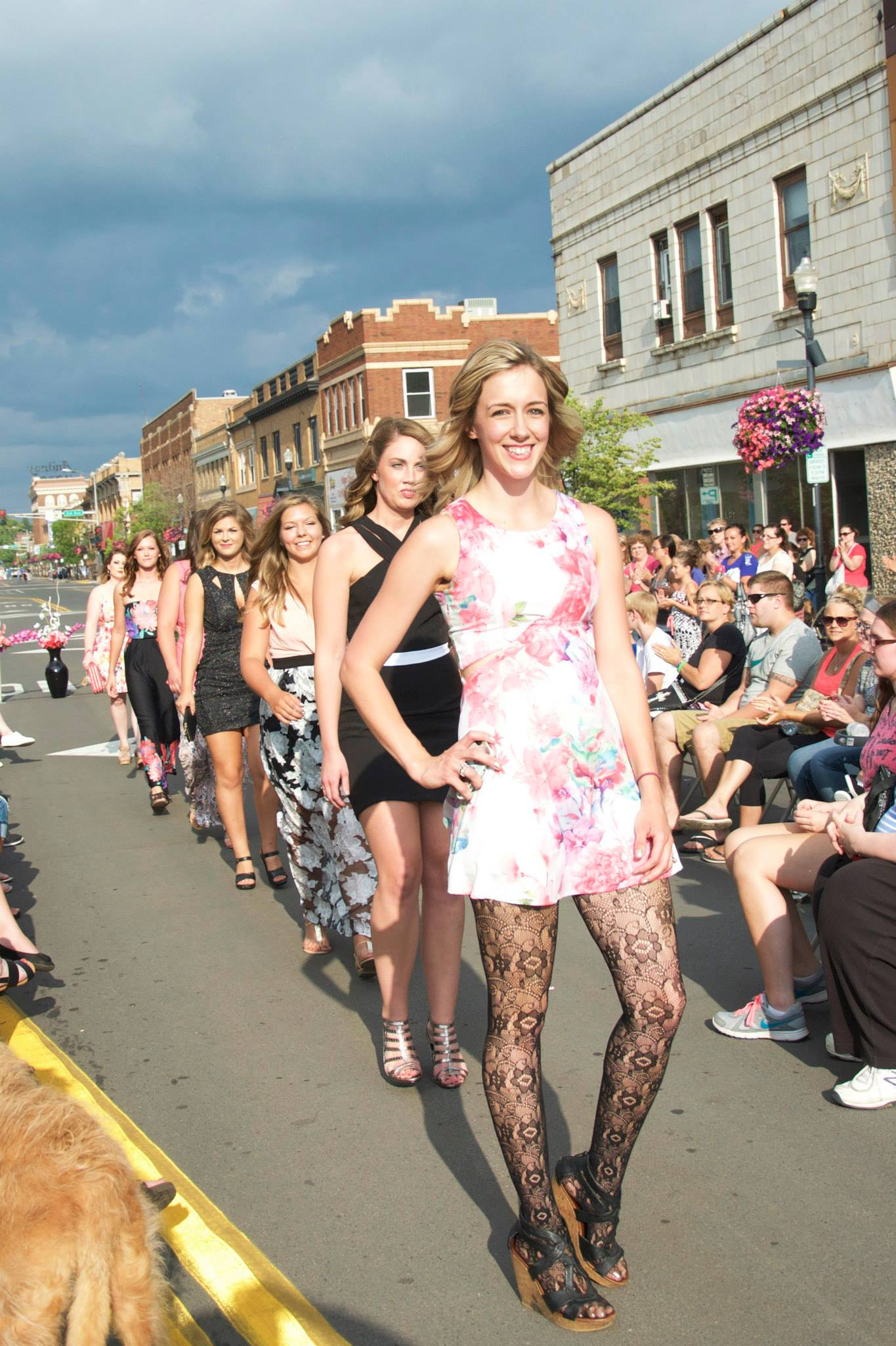 Nina Brooke Pleshe leads the lineup at the fashion show her shop Nina Brooke sponsored during Sidewalk Days in downtown Hibbing this summer. (PHOTO: Nina Brooke FB page)
