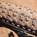An iron ore dust-stained mountain bike tire. PHOTO: Aaron J. Brown