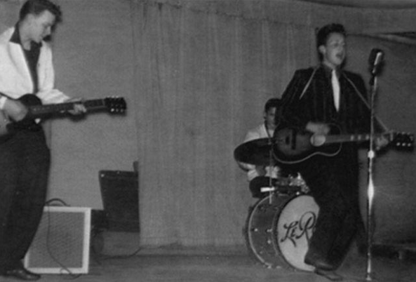Bob Zimmerman leads his band the Golden Chords at a 1958 concert at the Hibbing Memorial Building Little Theater in his Iron Range hometown.