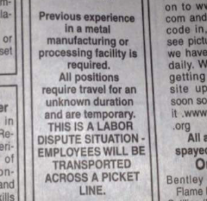 """A screen shot of a portion the classified ad hiring replacement workers for an Iron Range """"metal manufacturing or processing facility"""" that ran in the Aug. 26, 2015 Mesabi Daily News."""