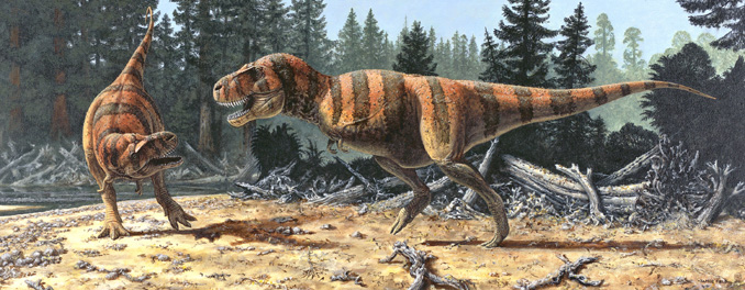 James Field painting of late Cretaceous encounter between tyrannosaurus.