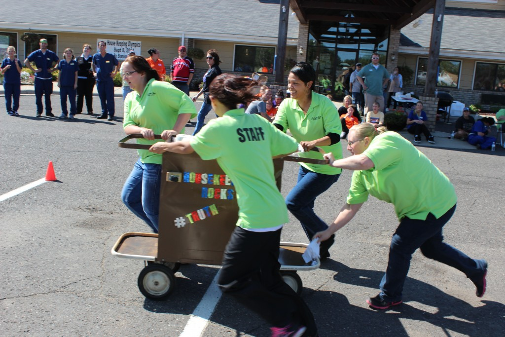 The team from Fortune Bay Resort and Casino competes in the 2014 Iron Range Housekeeping Olympics. (PHOTO via Iron Range Tourism)