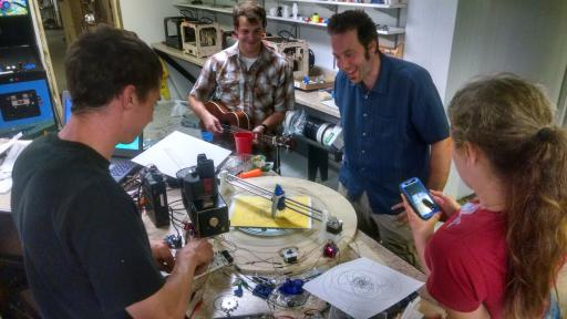Duluth Maker Space members demonstrate a Spinograph machine that creates precise patterns for use in artwork and machinery. (Duluth Maker Space website)