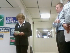 Veda Ponikvar speaks at DFL headquarters during an election year event in 2008. (Aaron J. Brown)