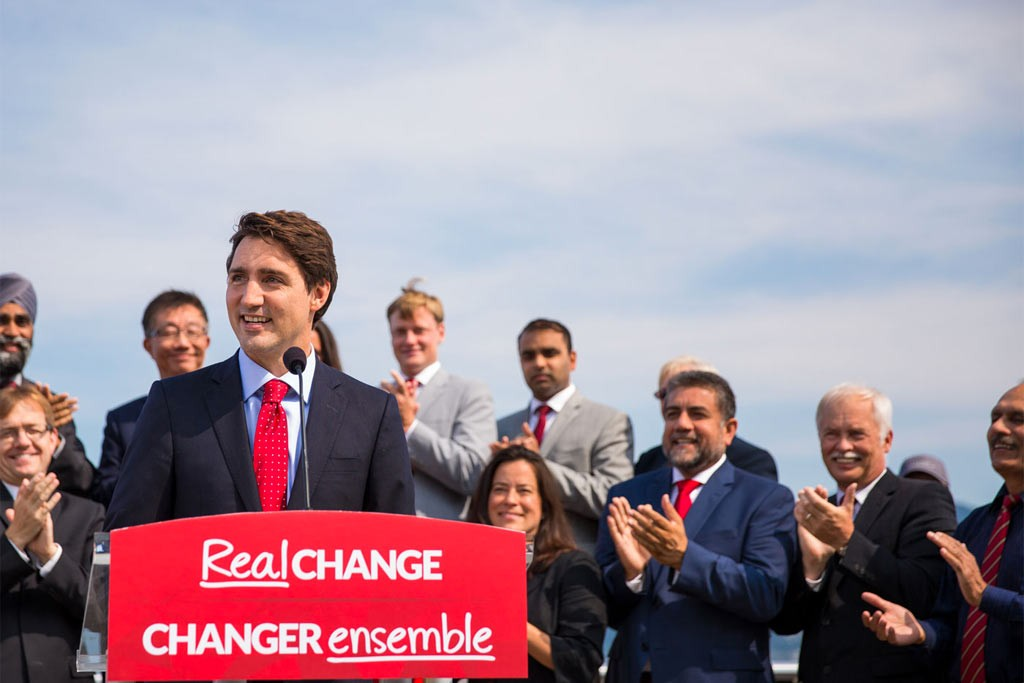 Canadian Liberal Party leader Justin Trudeau is leading in the polls heading into today's Canadian federal election.