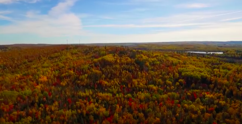 """The Laurentian Divide north of Virginia, Minnesota, as seen from aerial footage in YouTube video by """"Above the Range."""""""