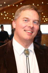 Your intrepid host Aaron Brown, donning a custom bolo tie for the Nov. 7, 2015 Great Northern Radio Show from Larson's Barn in McGregor, Minnesota.