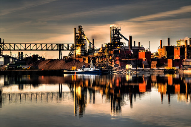 Essar Steel Algoma in Sault Ste. Marie, Ontario, will be entering bankruptcy restructuring according to the company, a fellow subsidiary of the company that owns Essar Steel Minnesota in Nashwauk. (PHOTO: Billy Wilson, Flickr CC)