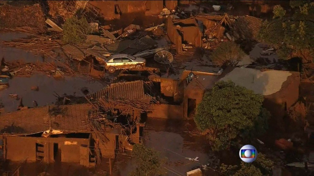 Screen shot of damage from the Samarco Mine disaster in Brazil (via NBC News and local media)