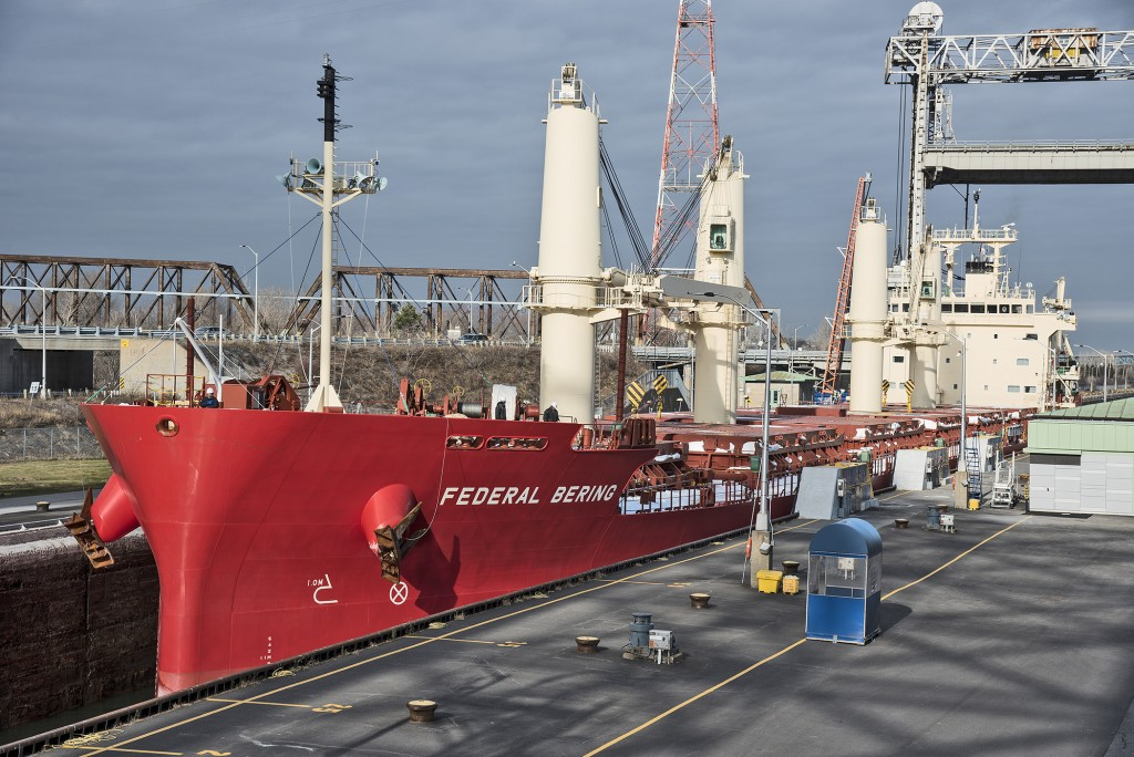 One of six newly-built bulk carriers in the Fednav fleet – the Federal Bering – is making its first full transit of the Great Lakes St. Lawrence Seaway system this week en route to the Port of Duluth-Superior. (PHOTO: Gilles Savoie via Duluth Seaway Port Authority)