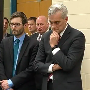 White House Chief of Staff Denis McDonough (right) looks on with State Rep. Jason Metsa (DFL-Virginia) after a private meeting with miners and officials focused on the trade issues affecting the Iron Range mining industry. (PHOTO: Screenshot from WDIO story)