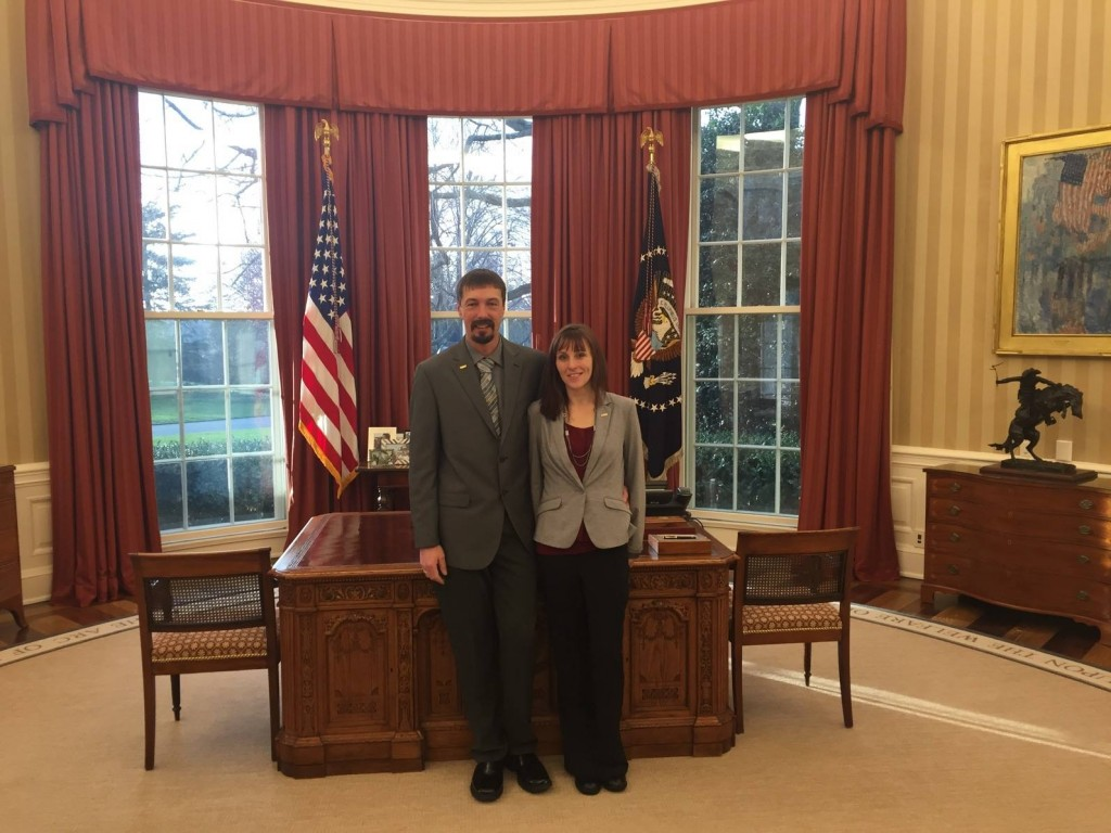 Steelworker Dan Hill and wife Heather Hill in the Oval Office on the morning of President Obama's State of the Union Address.
