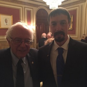 Democratic Presidential candidate Sen. Bernie Sanders talked with Hill after the speech.
