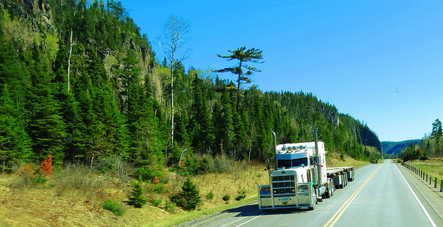 A semi truck travels on Canada's transcontinental Highway 11 near Nipigon, Ontario, in 2015. PHOTO: Jeremy Rempel