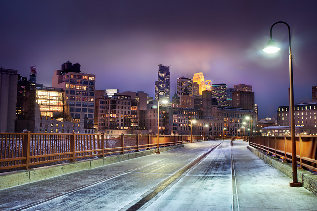 """A cold winter view of the Minneapolis skyline set in """"Vikings Purple."""" PHOTO: Chris Ford, Flickr CC"""