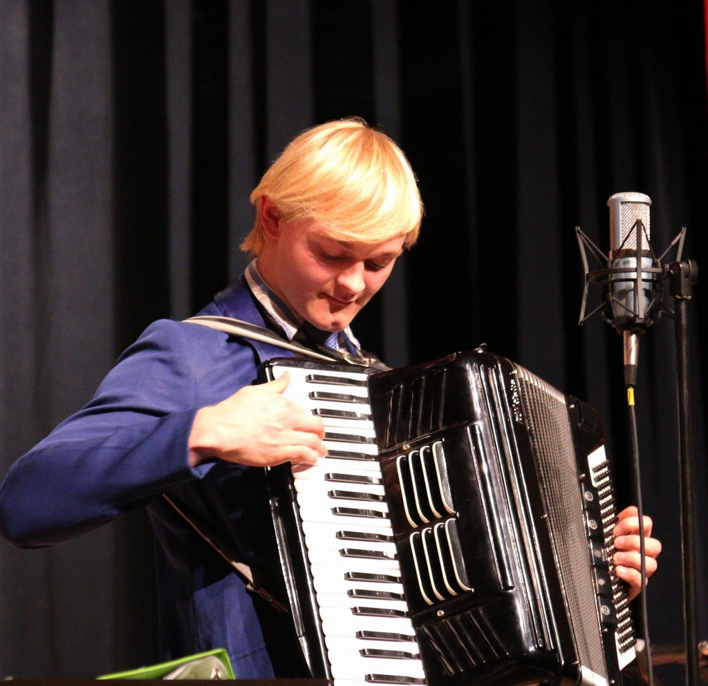 19-year-old accordionist Steven Tedman stole the show with his original songs, Finnish traditionals and even an old Bobby Aro tune at the Feb. 6, 2016 Great Northern Radio Show in Aurora, Minnesota.