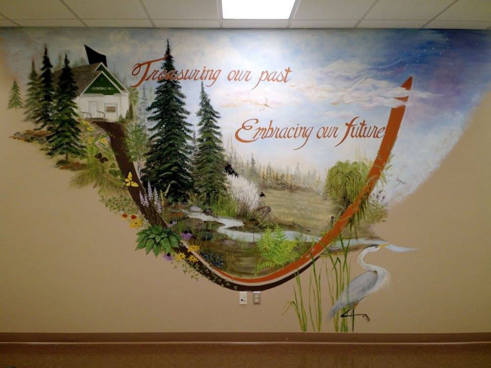 Mural by Peggy Hagen on the wall of the new Nashwauk Township Hall.
