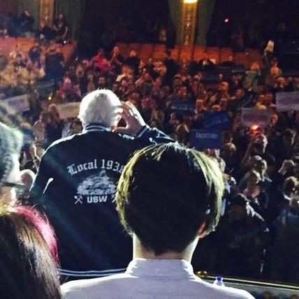 Bernie Sanders speaks in Hibbing on Friday, Feb. 26. PHOTO: Local 1938)
