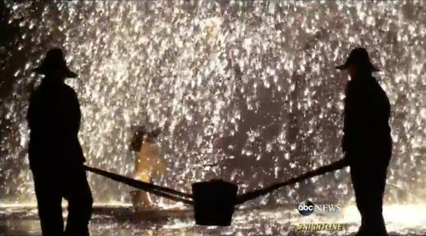 Blacksmiths in Dunhuang, China, create a unique annual fireworks display using molten iron to celebrate the lunar new year. The dangerous ceremony involves throwing molten iron up against a cold wall, creating a dazzling display of sparks. (PHOTO: Screenshot from Dateline ABC)
