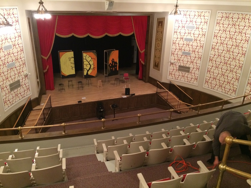 The Mesabi East High School auditorium stage, site of the Feb. 6, 2016 Great Northern Radio Show. (PHOTO: Dan Houg)