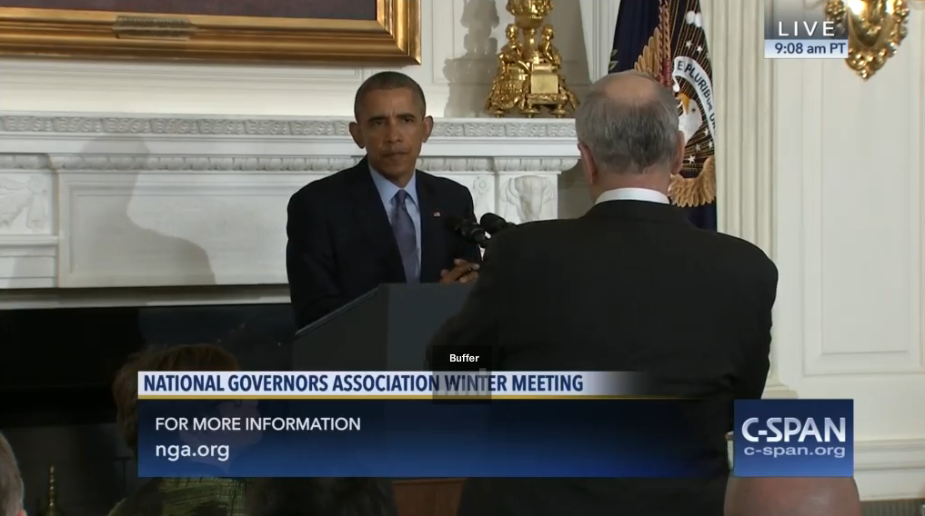 President Obama takes a question from Minnesota Gov. Mark Dayton at the National Governors Association meeting today in Washington, D.C. (CSPAN screenshot)