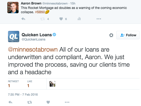Tweet from Quicken Loans