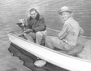 Then Gov. Elmer L. Anderson (right) fishes with former Gov. C. Elmer Anderson, the Republican who signed the IRRRB into existence in the 1940s.