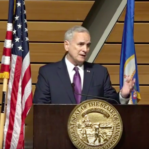 Gov. Mark Dayton delivers his annual State of the State address at the University of Minnesota on Wednesday, March 8, 2016. (screenshot)