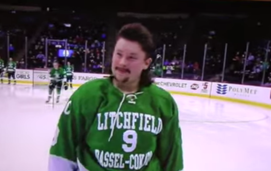 Screenshot from 2016 Minnesota State High School All Hockey Hair Team video.