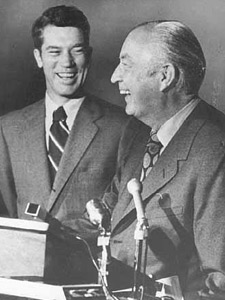 Then-Gov Wendall Anderson with former Gov. Elmer L. Andersen in 1971. Wendell Anderson (DFL) presided over a time of expansion of the IRRRB mission, while Elmer L. Anderson served during the run-up to the crucial Taconite Amendment. (MN Historical Society)