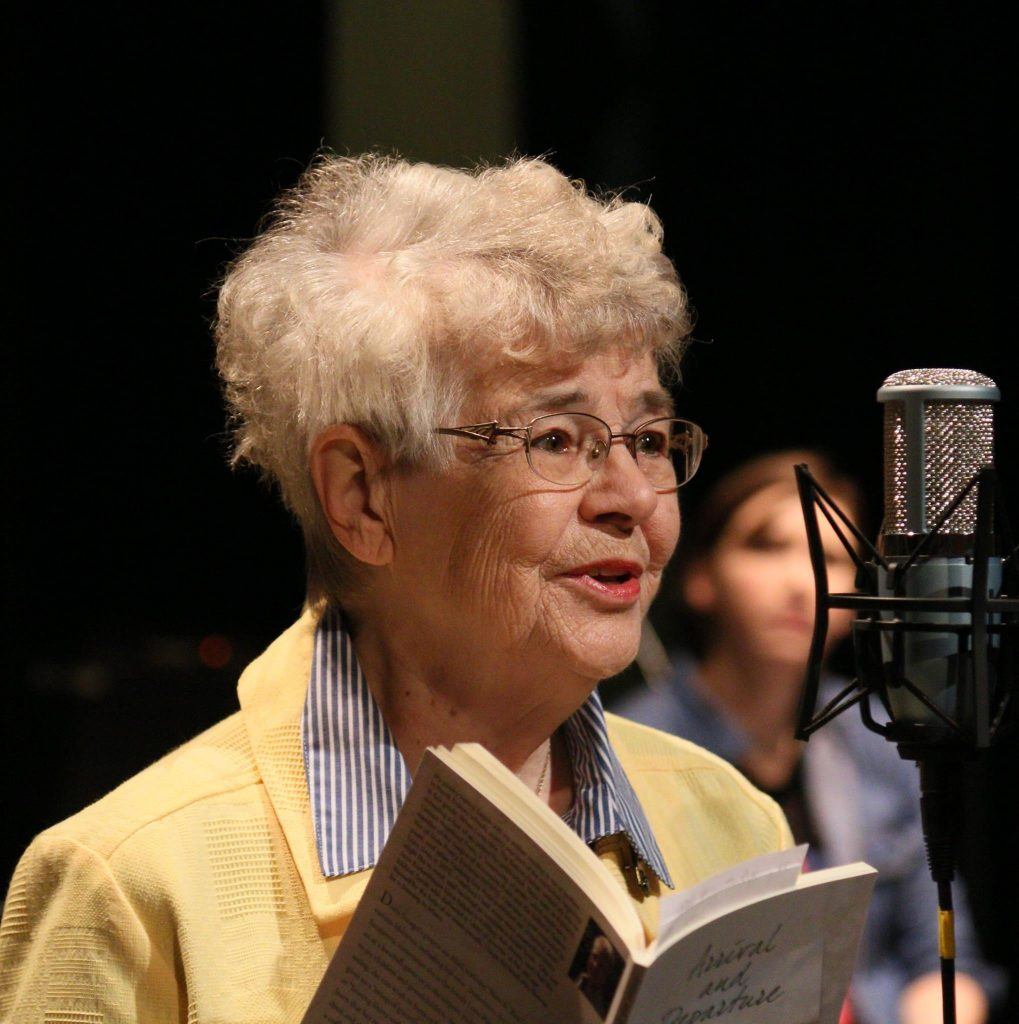 Doris Stengel performs one of her poems during the April 9, 2016 Great Northern Radio Show in Pequot Lakes, Minnesota. (PHOTO: Grant Frashier)