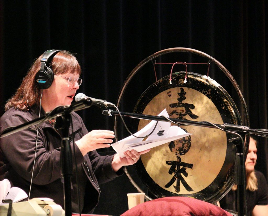 Foley artist Lauren Nickisch creates sound effects during the April 9, 2016 Great Northern Radio Show in Pequot Lakes, Minnesota (PHOTO: Grant Frashier)