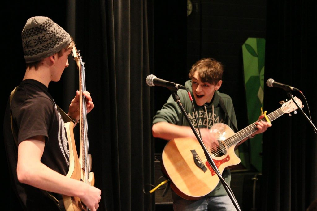 Brothers Owen and Jacob Mahon perform as Hog Rooster at the April 9, 2016 Great Northern Radio Show in Pequot Lakes, Minnesota. (PHOTO: Grant Frashier)