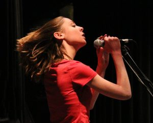 Katie Wig, lead singer of Last Call, performs during the April 9, 2016 Great Northern Radio Show in Pequot Lakes, Minnesota (PHOTO: Grant Frashier)