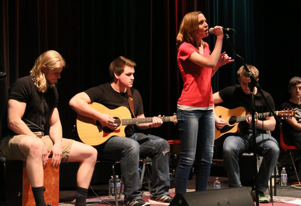 Last Call, including Nich Schwen on cajon, Duncan Vinje on guitar, Katie Wig on vocals, and Mitchell Gerard on lead guitar, perform at the April 9, 2016 Great Northern Radio Show in Pequot Lakes, Minnesota. (PHOTO: Grant Frashier)