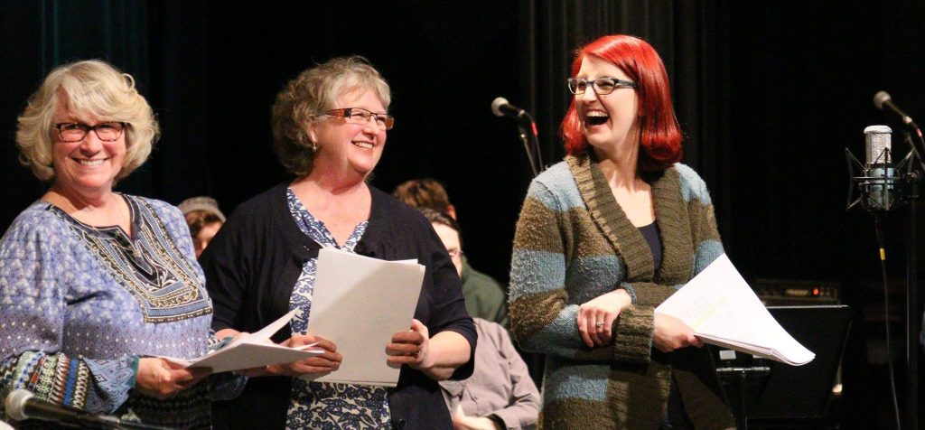 """Nancy Waller, Sara Breeze, and Louisa Scorich perform as """"Reference Team 6"""" during the April 9, 2016 Great Northern Radio Show in Pequot Lakes, Minnesota. (PHOTO: Grant Frashier)"""