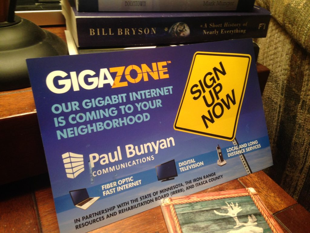 The postcard from Paul Bunyan Communication is official confirmation that MinnesotaBrown World Headquarters will be getting broadband this year.