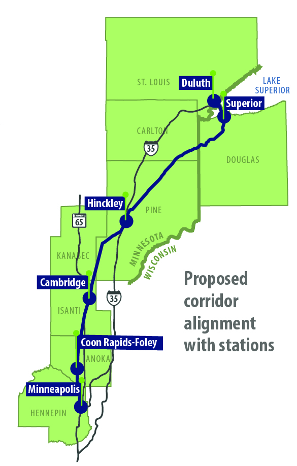 A map of the proposed Northern Lights Express rail service from Duluth to St. Paul. (MnDOT)