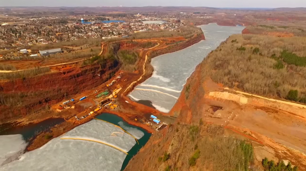 "Drone footage of construction on the new Highway 53 bridge between Virginia and Eveleth, Minnesota. (Screenshot from ""Above the Range"" video)"