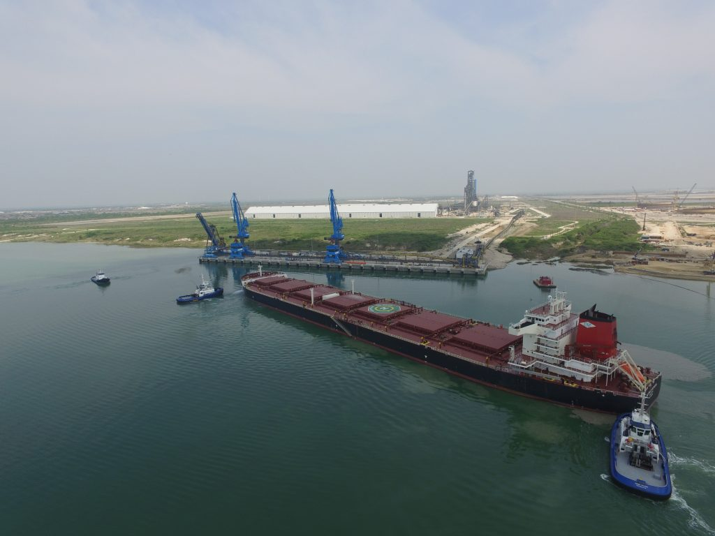 The CASTILLO DE NAVIA, a mini cape vessel twice the size of a Lake Superior ore ship, docks in Corpus Christi with a load of Brazilian iron ore in April 2016 (Voestalpine).