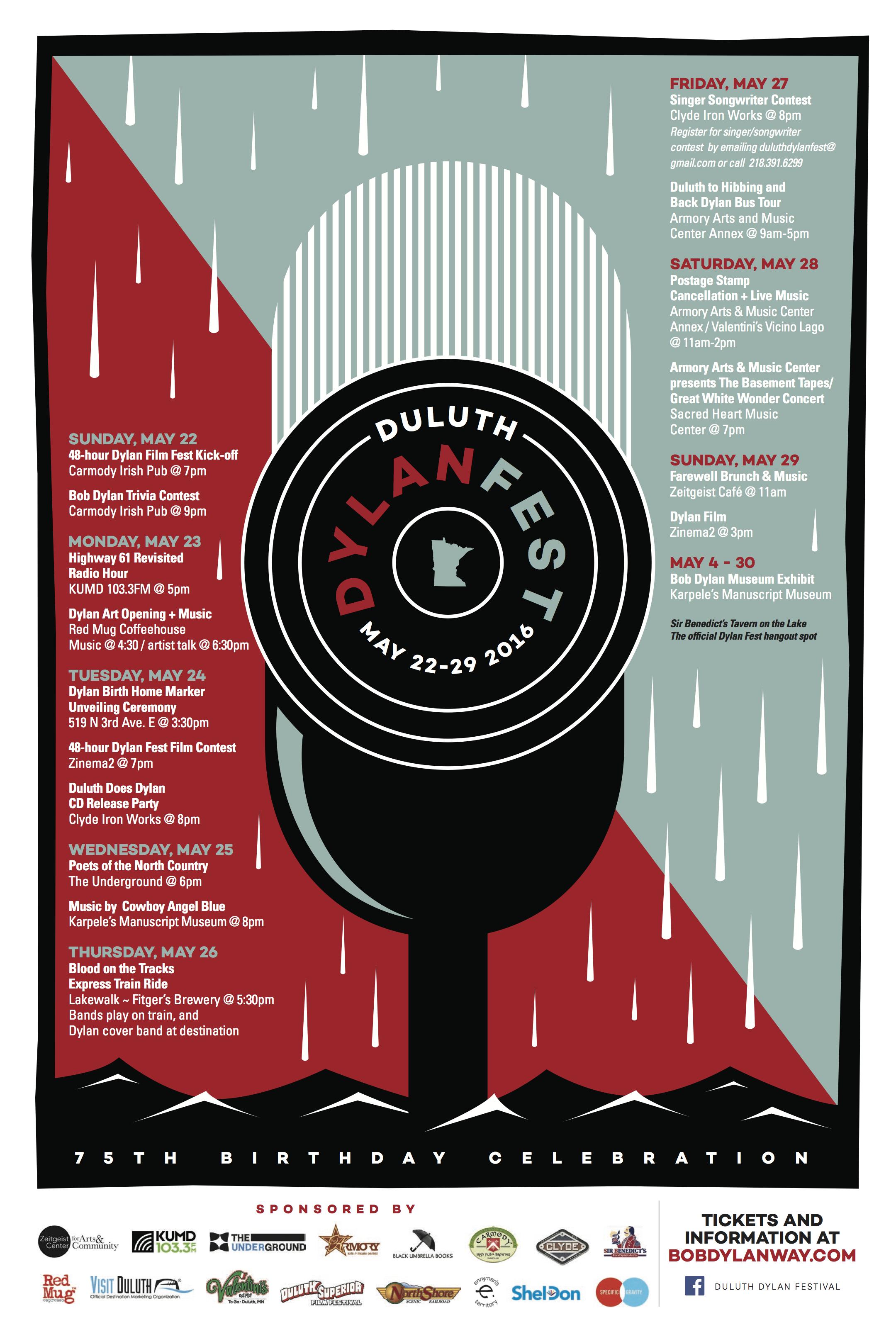 Duluth Dylan Fest 2016 Schedule