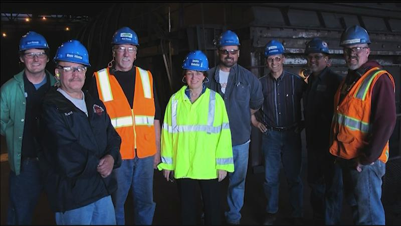 U.S. Sen. Amy Klobuchar with Northshore Mining workers at the taconite processing plant in Silver Bay. (Cliffs via WDIO)