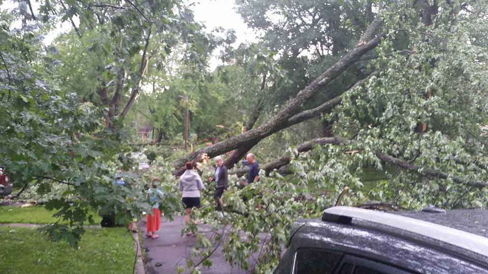 Storm damage on a Duluth street. Most of Duluth was without power on July 21, 2016 as 70 mph winds raked the city overnight. (PHOTO: Ben Mahlke)