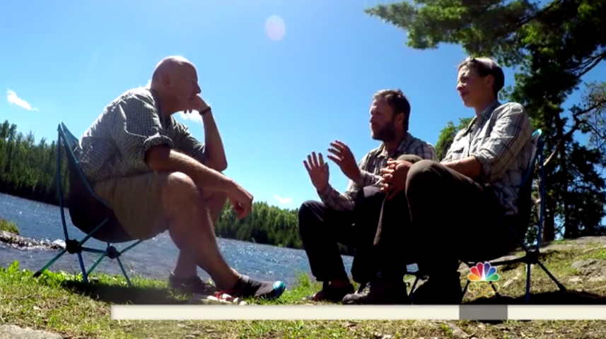 NBC's Harry Smith interviews Dave and Amy Freeman in the BWCA for the Today Show.