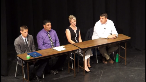 DFLers Tom Whiteside, Ben DeNucci, Julie Sandstede, and Mike Thompson face off in the Tuesday, Aug. 9, DFL primary for House District 6A. (Screenshot from Advocates for Family Peace Forum)