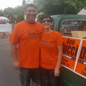 Ben DeNucci and wife Kelly at a recent Iron Range parade. (PHOTO via DeNucci campaign FB page)