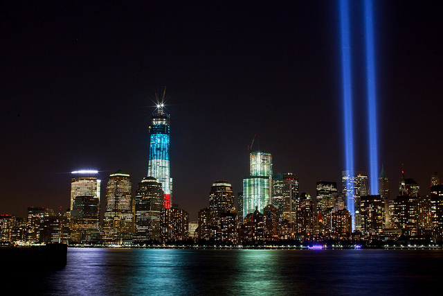 The Tribute in Light 9/11 memorial next to the new One World Trade Center in 2012. (PHOTO: Anthony Quintano, Flickr CC)
