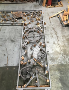 """Bob Dylan welded together parts, tools and other metal implements to make his iron gate project """"Portal."""" (MGM National Harbor)"""